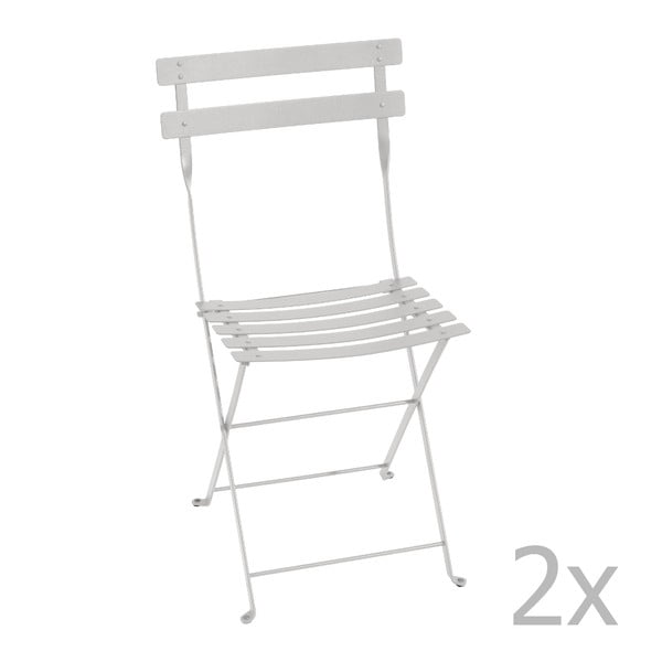 Zestaw 2 jasnoszarych krzeseł składanych Fermob Bistro