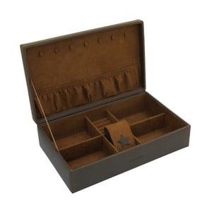 Brązowa szkatułka na biżuterię Friedrich Lederwaren Baccara, 30x19 cm