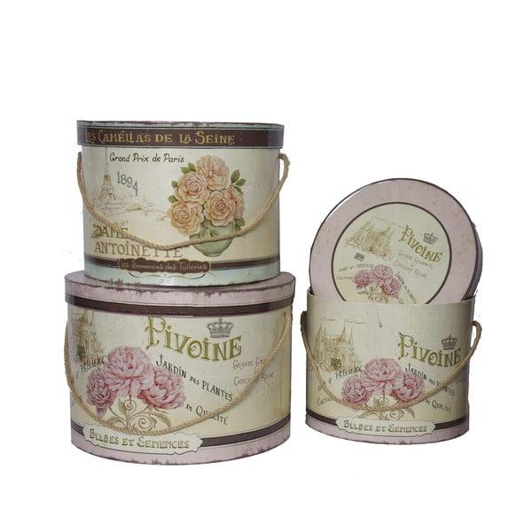 Komplet 3 pudełek Antic Line Pivoine