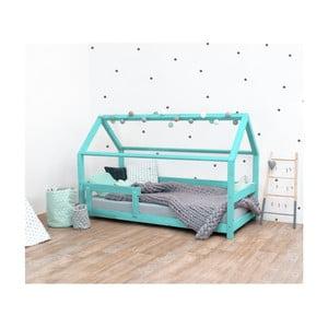 Turkusowe łóżko dziecięce z bokami z naturalnego drewna świerkowego Benlemi Tery, 80x160 cm