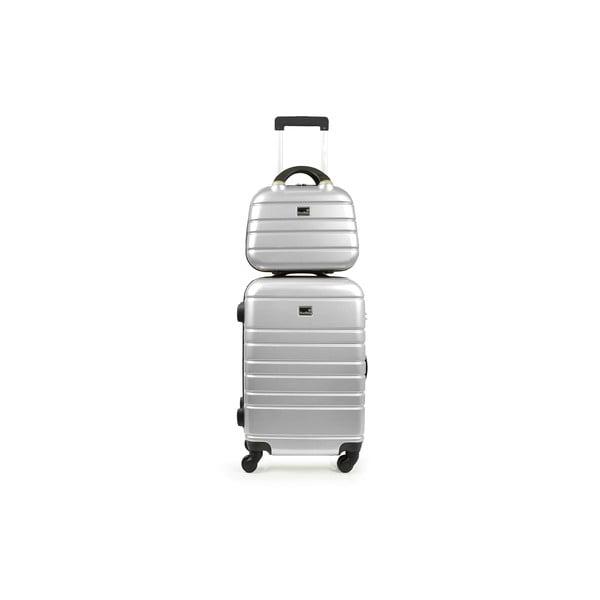 Szara walizka i torba podręczna Blue Star Manhattan