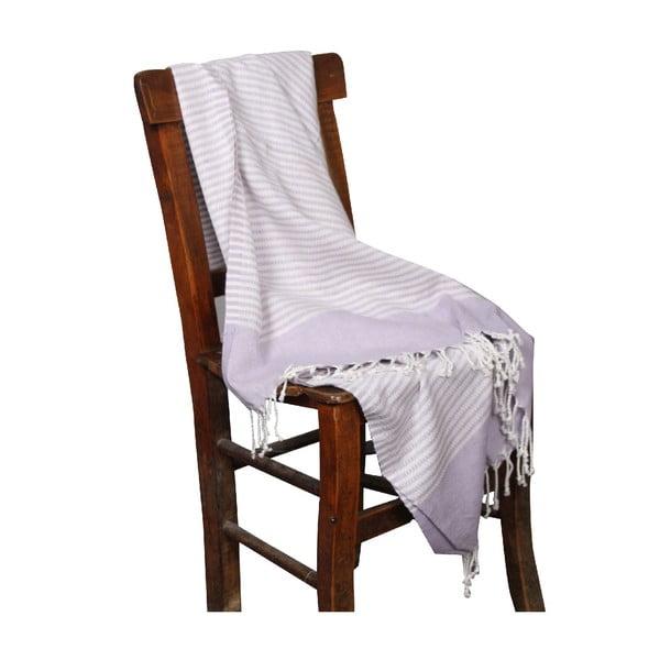 Jasnofioletowy ręcznik hammam Hermes Lilac, 90x190cm
