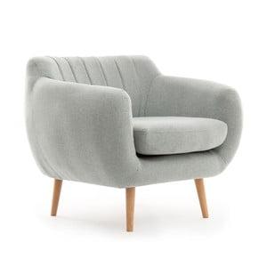 Szaroniebieski fotel z naturalnymi nogami VIVONITA Kennet