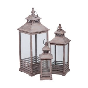Komplet 3 jasnobrązowych lampionów Farole