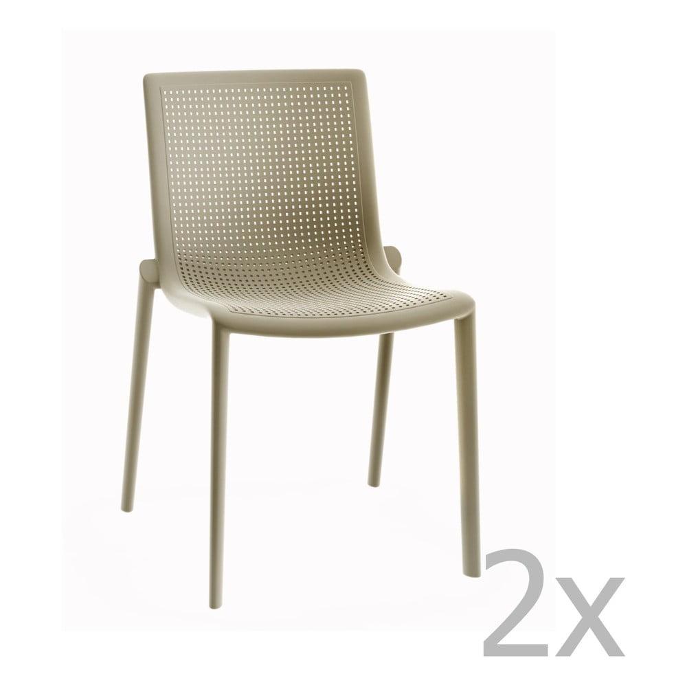 Zestaw 2 piaskowobrązowych krzeseł ogrodowych Resol Beekat