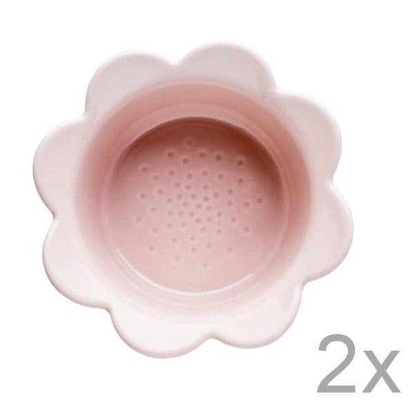 Zestaw 2 różowych misek Sagaform Piccadilly Kwiatki, 13x6,5 cm