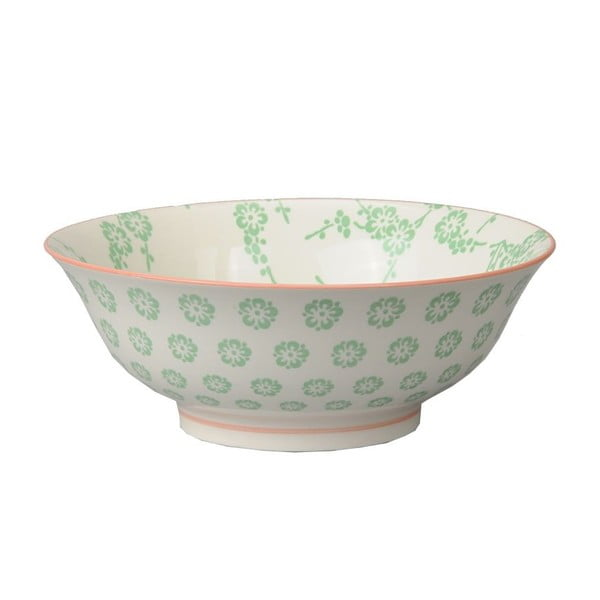 Porcelanowa miska Soba Flower Green, 21x7,8 cm