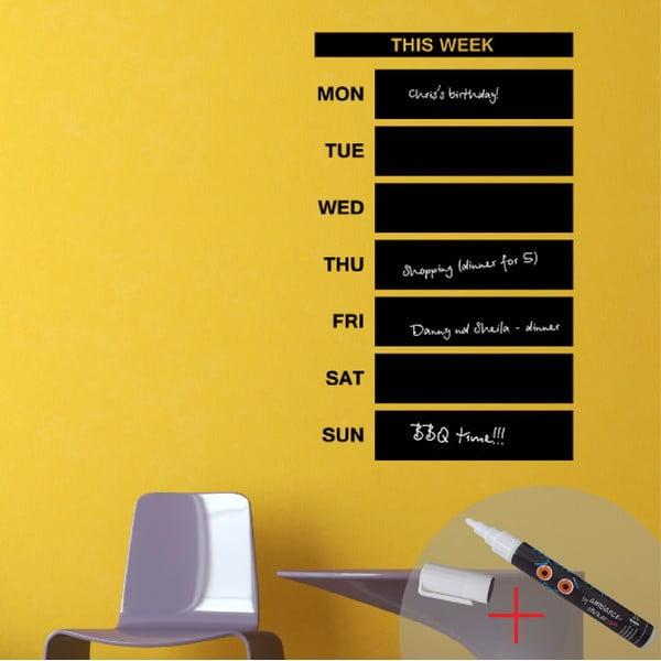 Naklejka ścienna / tablica do pisania Weekly Calendar + biały marker