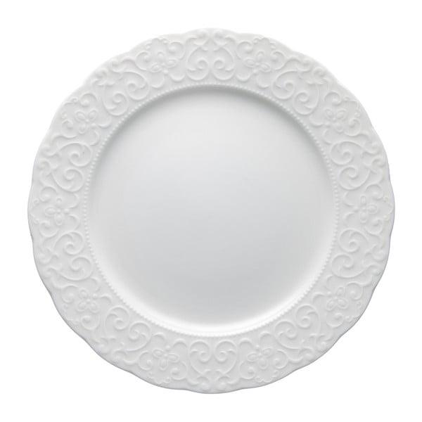 Biały talerz porcelanowy Brandani Gran Gala, ⌀ 25 cm