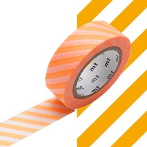 Washi taśma dekoracyjna Stripe Shocking Orange