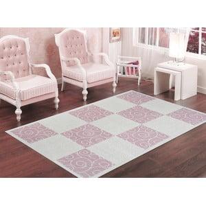 Pudrowy wytrzymały dywan Patchwork, 80x150 cm