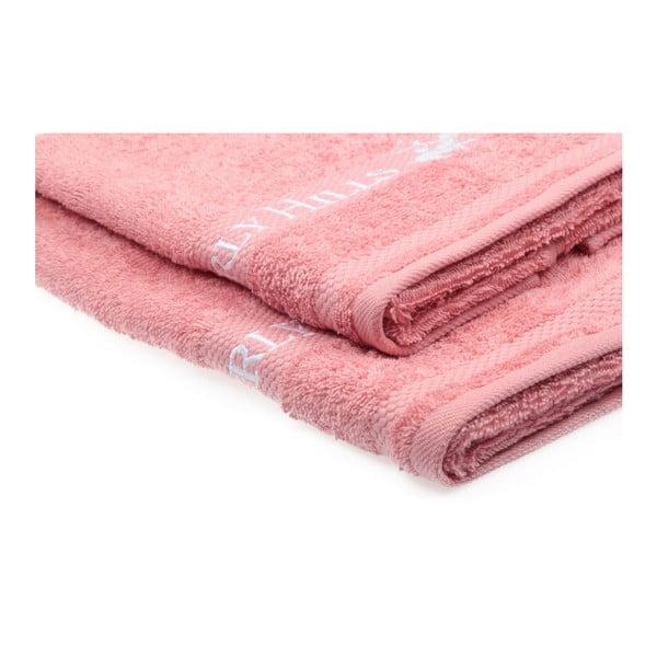 Zestaw 2 różowych ręczników Beverly Hills Polo Club Tommy Yazi