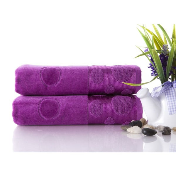 Zestaw 2 ręczników Tropical Plum II, 50x90 cm