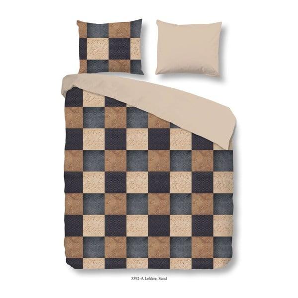 Brązowa bawełniana pościel jednoosobowa Muller Textiels Lokkie, 140x200 cm