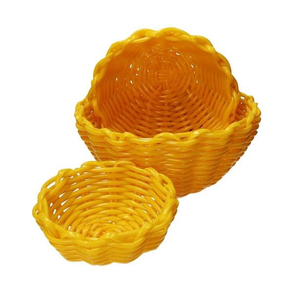 Zestaw 3 okrągłych koszyków Tag Galben