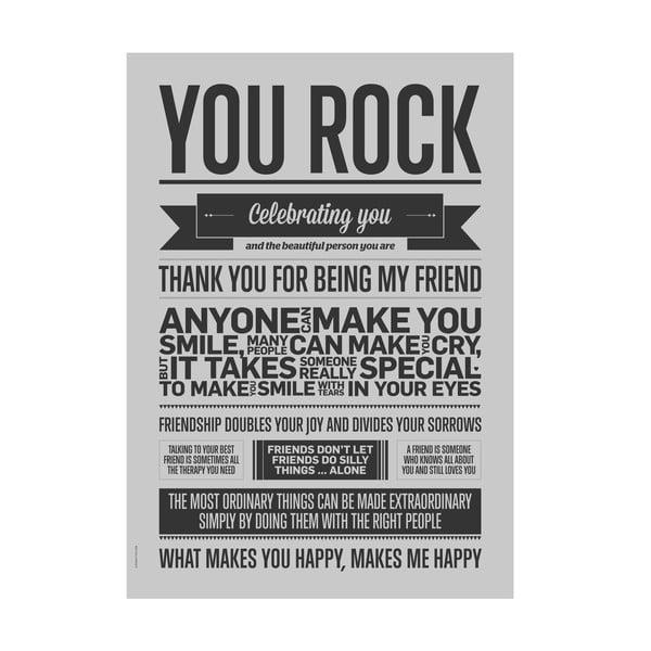 Plakat autorski You Rock Grey, 50x70 cm