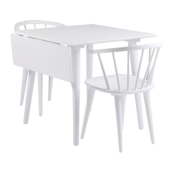 Białe krzesło do jadalni z drewna kauczukowca Folke Carmen