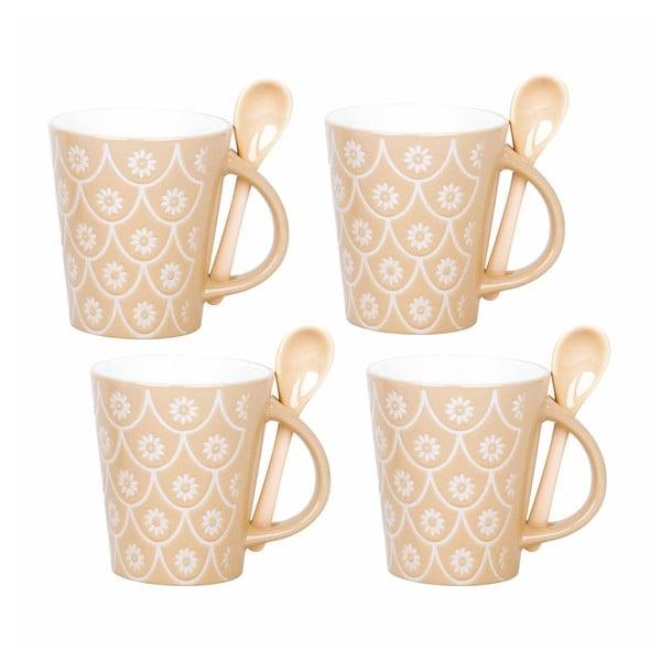 Zestaw 4 filiżanek z łyżeczkami Mugs, naturalny