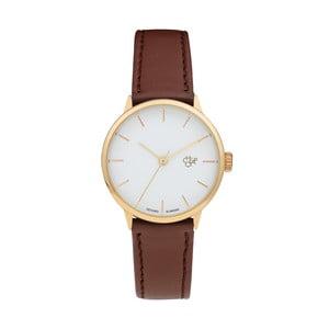 Zegarek z brązowym paskiem i złoto-z białym cyferblatem CHPO Khorshid Mini Vegan