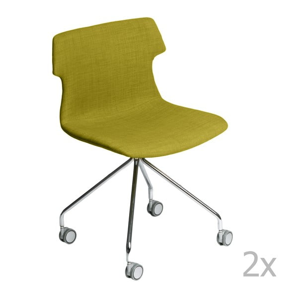 Zestaw 2 zielonych tapicerowanych krzeseł D2 Techno Roll