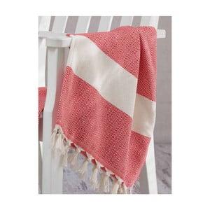 Czerwono-biały ręcznik Hammam Elmas, 100x180cm