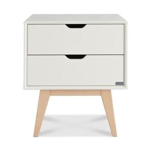 Biały stolik nocny z 2 szufladami wykonany ręcznie z litego drewna brzozowego Kiteen Kolo