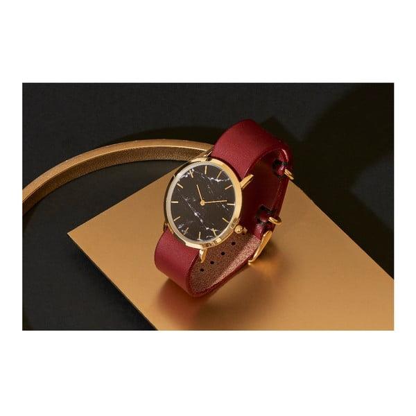 Czarny marmurkowy zegarek z czerwonym paskiem Analog Watch Co. Classic