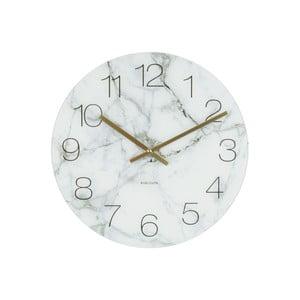 Biały zegar Present Time Glass Marble, ⌀ 17 cm
