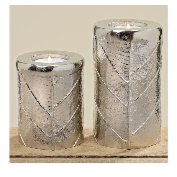 Zestaw 2 świeczników Leaf Silver