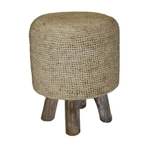 Brązowy puf z drewna tekowego HSM Collection Nature