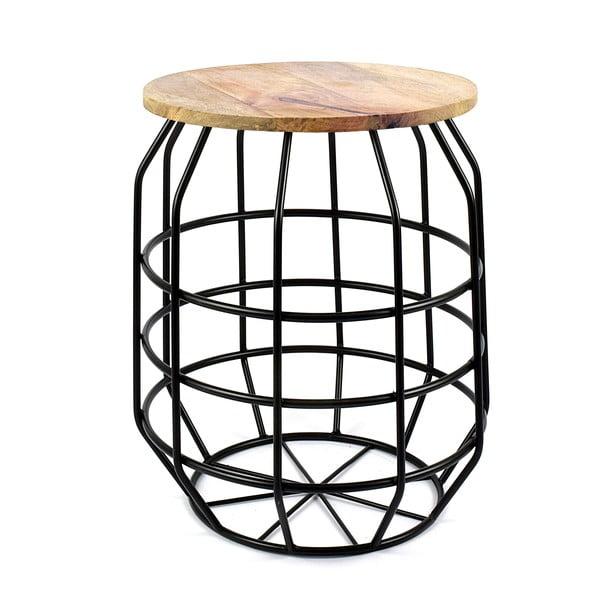 Czarny stolik z drewnianym blatem HF Living Peak