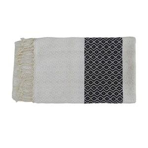 Czarno-biały ręcznie tkany ręcznik z bawełny premium Oasa,100x180 cm