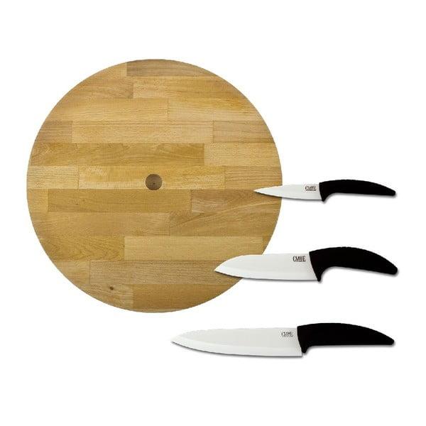 Komplet noży z drewnianą deską Classe, 4 szt.