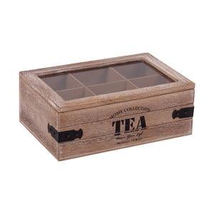 Pudełko drewniane z 6 przegródkami na herbatę Tea