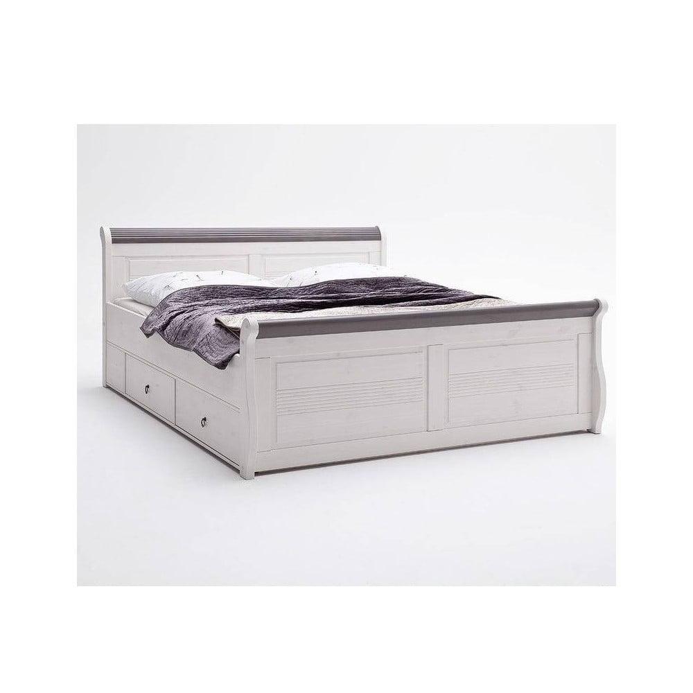 Białe łóżko Sosnowe Z Szufladami Sob Harald Komfort 180 X 200 Cm Bonami