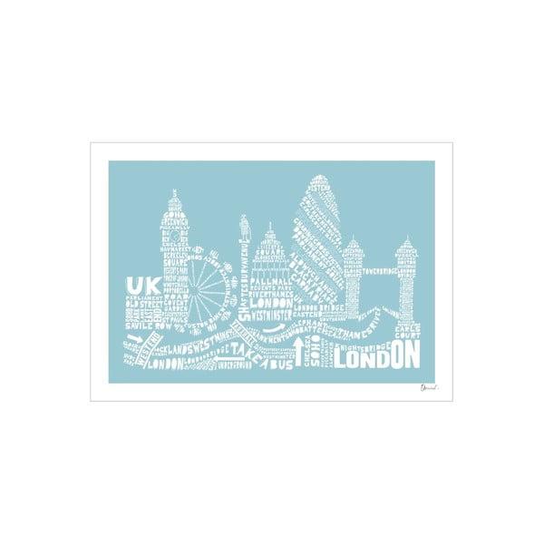 Plakat London Blue&White, 50x70 cm