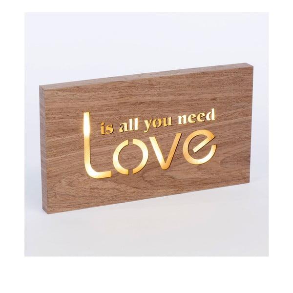 Obraz ze świecącym napisem Love, 42x24 cm