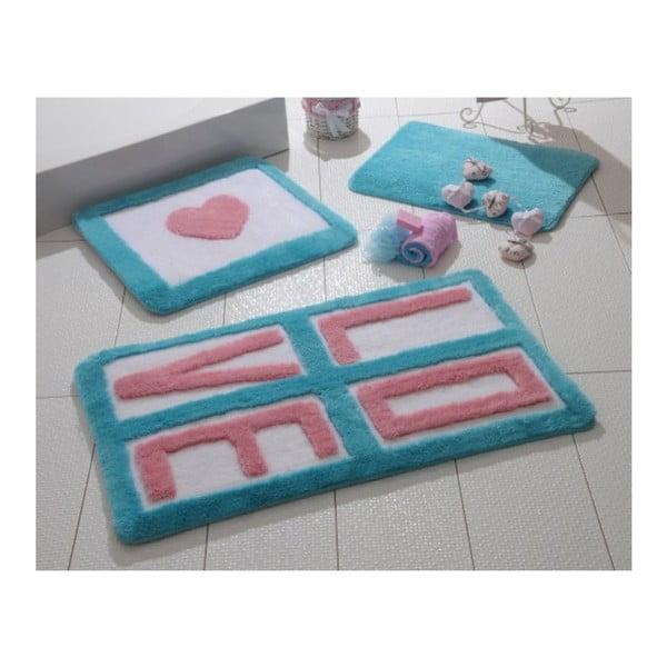 Komplet 3 dywaników łazienkowych Alessii Love Turquoise