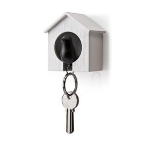 Budka z zawieszkami na klucze QUALY Sparrow, biała/czarna