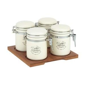 Ceramiczne pojemniki z drewnianą tacą, 4 sztuki