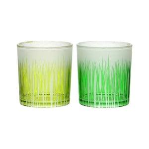 Zestaw 2 świeczników Grass Glass, 7x8 cm