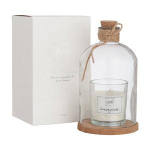 Świeczka zapachowa ze szklaną kopułką Bottle Candle 10x17 cm, trawa cytrynowa