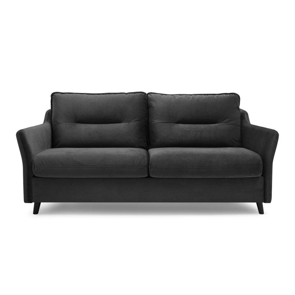 Ciemnoszara aksamitna sofa rozkładana Bobochic Paris Loft