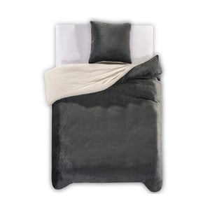 Ciemnoszara   pościel z mikrowłókna DecoKing Teddy, 135x200 cm