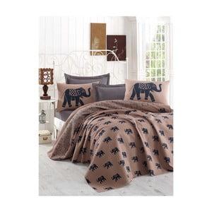 Brązowa narzuta na łóżko dwuosobowe z prześcieradłem i poszewkami na poduszki Freedom, 200x235cm