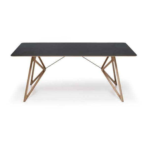 Stół dębowy do jadalni Tink Linoleum Gazzda, 160cm, czarny
