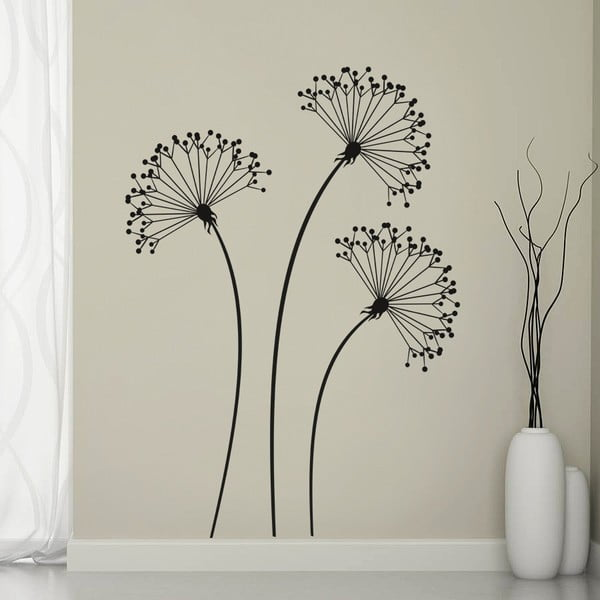 Naklejka ścienna Trzy czarne kwiaty, 90x60 cm