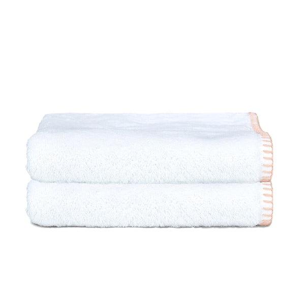 Zestaw 2 ręczników Whyte 100x150 cm, biało-łososiowy
