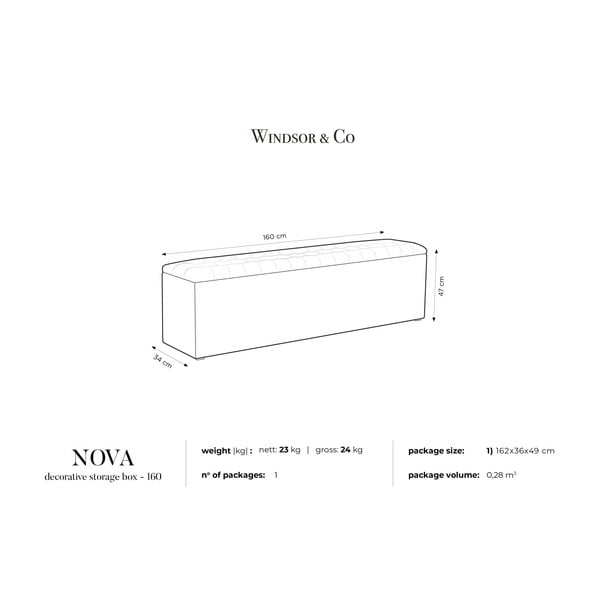 Fioletowa ławka tapicerowana ze schowkiem Windsor & Co Sofas Nova, 160x47 cm