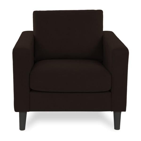 Ciemnobrązowy fotel z czarnymi nogami Vivonita Tom